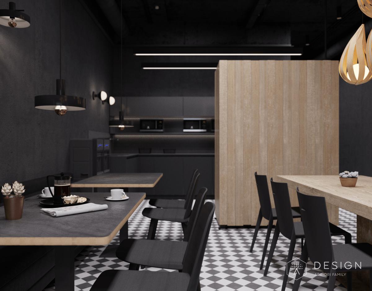 Дизайн интерьера столовой Завод в черном