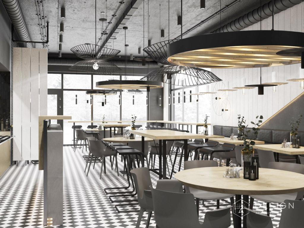 Дизайн интерьера столовой Завод в светлом