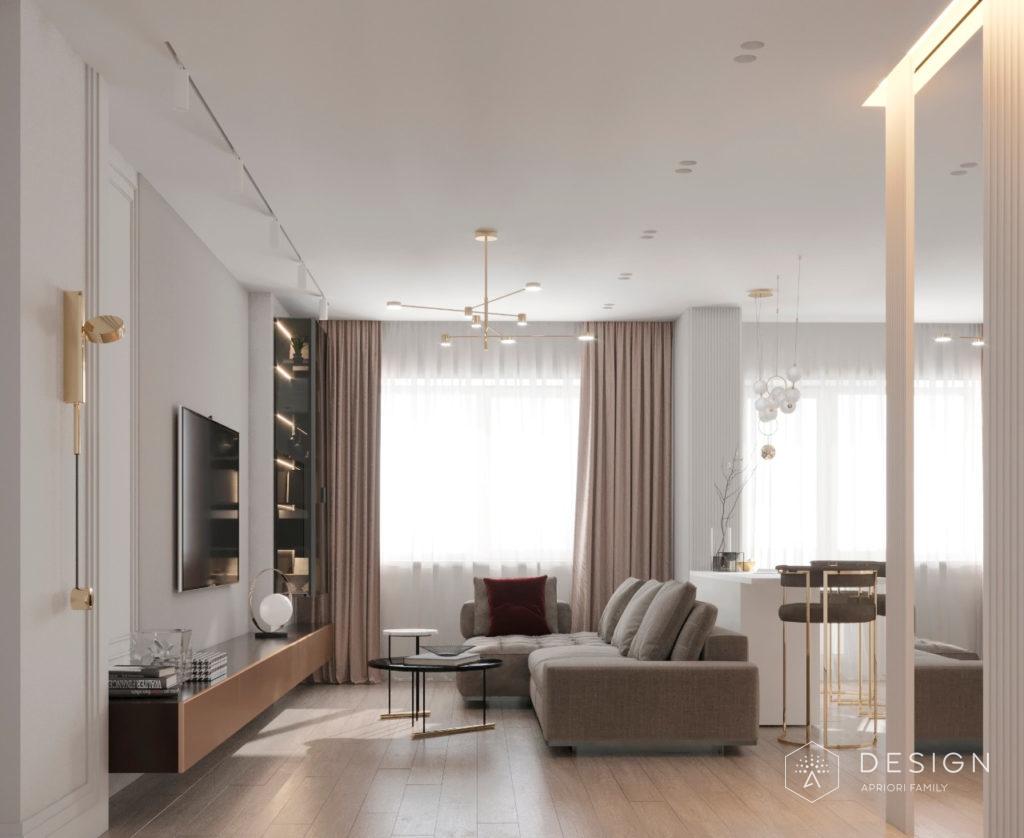 Дизайн гостиной и спальни для квартиры молодой семьи